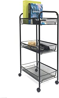 Mind Reader Rolling Metal Mesh 3 shelf Utility Cart, Black, Tier
