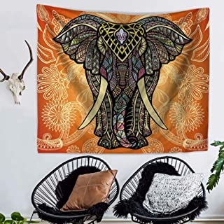 lbonb Elephant Mandala Tapestry Indian Mandala Impresión Colgante de Pared Salón Decoración Poliéster Toalla de Playa Tenture