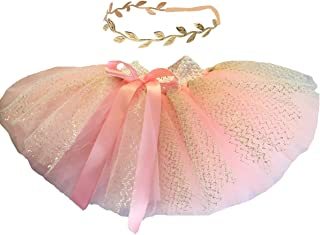 Baby Tutu Skirt and Gold Headband Set for First Birthday Outfit
