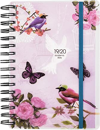 2019-2020 Diary One Day to Page A5 Spiral Mid Year Student/Teacher Diary with Full Page of Saturday & Sunday by Arpan (Vintage Birds)