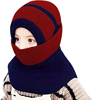 Toddler Winter Hat, Kids Winter Beanie Hat Scarf Warm Knit Ski Hat with Plush Lining for Girls Boys, 2-5 Years Blue