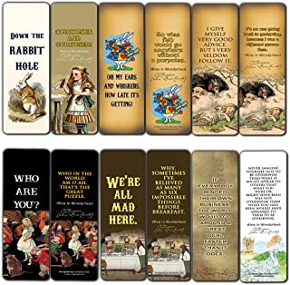 Vintage Alice in Wonderland Bookmarks Cards (60-Pack) - Down The Rabbit Hole Curiouser - Stocking Stuffers for Her, Girls, Kids - Birthday Mad Hatter Tea Party Supplies