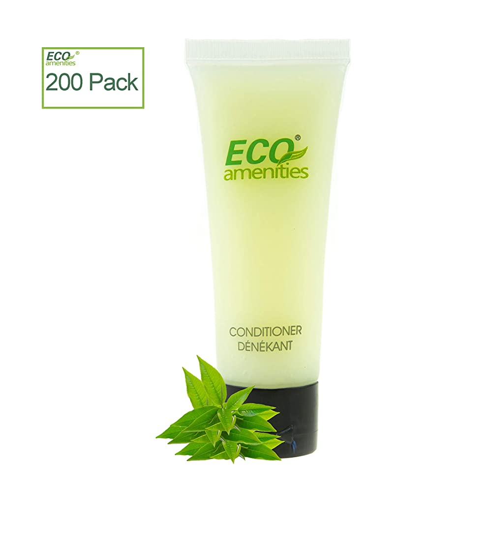 ECO AMENITIES Travel size 1.1oz hotel conditioner in bulk, Clear, Green Tea, 200Count