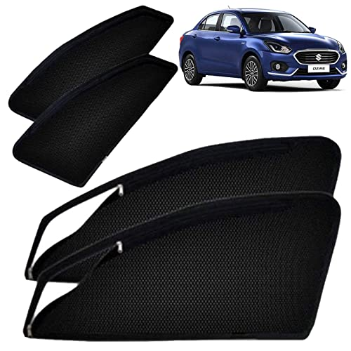 Autofact Magnetic Window Sunshades/Curtains for Maruti Swift Dzire (2017/2018) [Set of 4pc - Front 2pc with Zipper ; Rear 2pc Without Zipper] (Black)