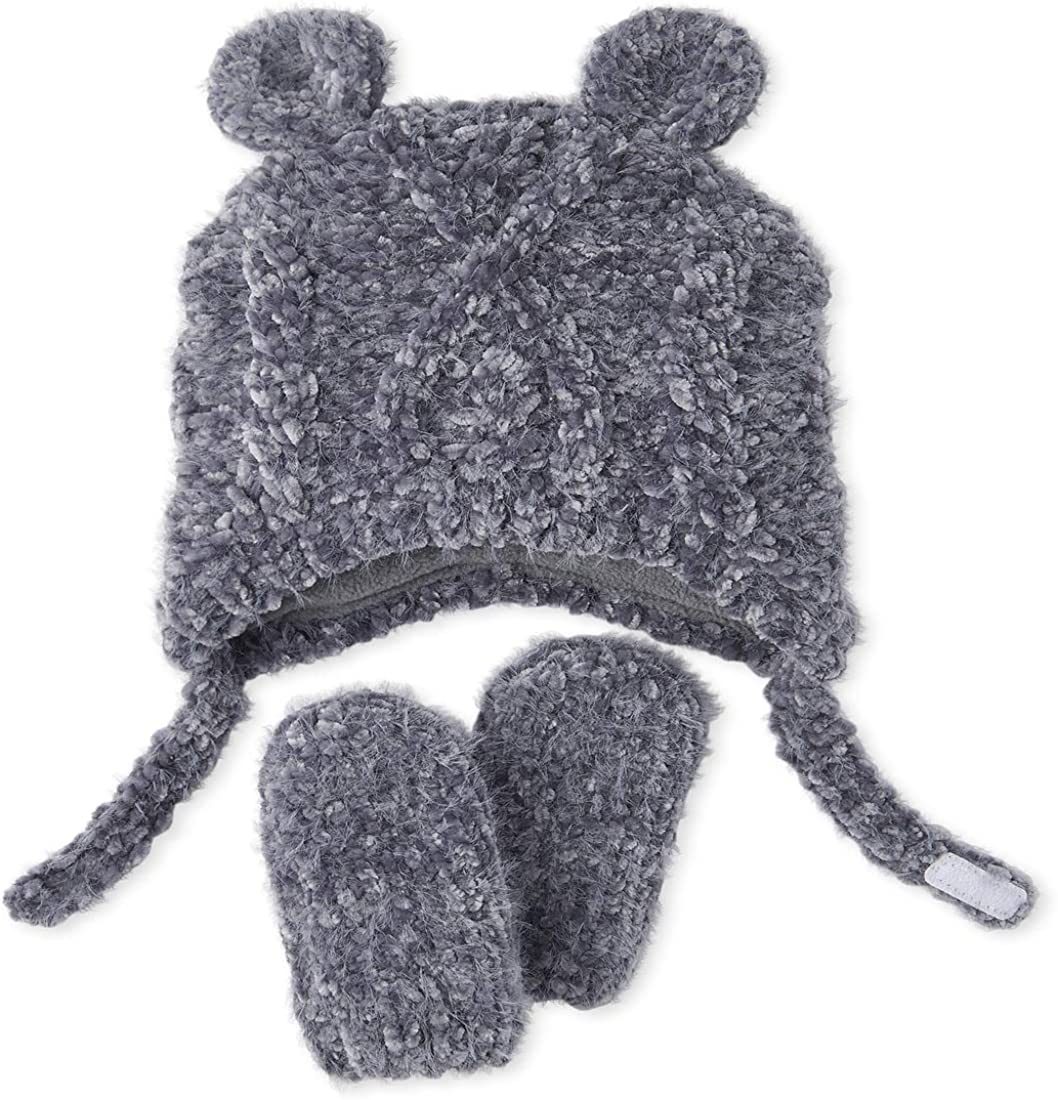 The Children's Place Boys' Cable Knit Chenille Hat and Mittens Set