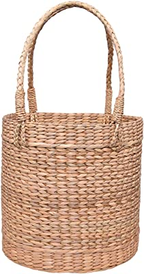 Now & Zen Water Reed/Seagrass Laundry Basket with Handle - Dry Grass Natural cane Storage Bin/Bag, Portable water hyacinth Laundry Hamper for Bedroom, Bathroom, Laundry Room - Natural Color