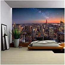 wall26 - Milky Way Over Manhattan, New York City - Removable Wall Mural | Self-Adhesive Large Wallpaper - 100x144 inches
