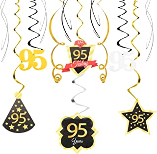 Best 95 Birthday Decoration Happy 95th Birthday Party Silver Black Gold Foil Hanging Swirl Streamers I