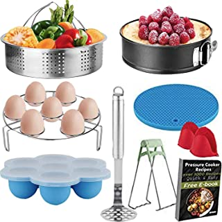 10Pcs Cooking Accessories Compatible with Instant Pot 5,6,8,Qt,Pressure Cooker Accessories with Steamer Basket/Egg Trivet Rack/Egg Bites Molds/Springfrom Pan/Oven Mitts/Bowl Clip/Silicone Trivet Mat