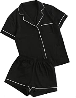Women's Notch Collar Short Sleeve Sleepwear Two Piece Pajama Set