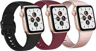 FUUI Correa Compatible con Apple Watch 38mm 42mm 40mm 44mm, Pulseras de Repuesto de Silicona Suave para iWatch Series 6 5 ...