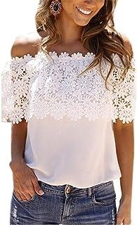 NMY Camisetas Verano Mujeres Sin Cuello Sin Mangas Suelto Encaje Color sólido t-Shirt