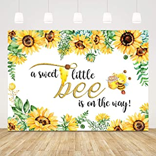 Sweet Little Bee Baby Shower Backdrop for Girl Sunflower Baby Shower Background 7x5ft Bee Theme Backdrop Gender Reveal Baby Shower Photo Booth Props Babyshower Backdrops for Boys Girls