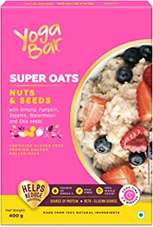 Yogabar Oatmeal Nuts & Seeds 400g | Premium Oats with High Fibre, 100% Whole Grain, Non GMO | Gluten Free Golden Oats for ...