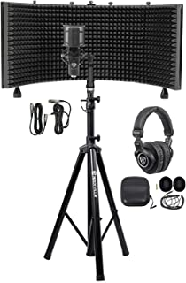Rockville Pro Recording Studio Microphone Mic+Isolation Shield+Headphones+Stand