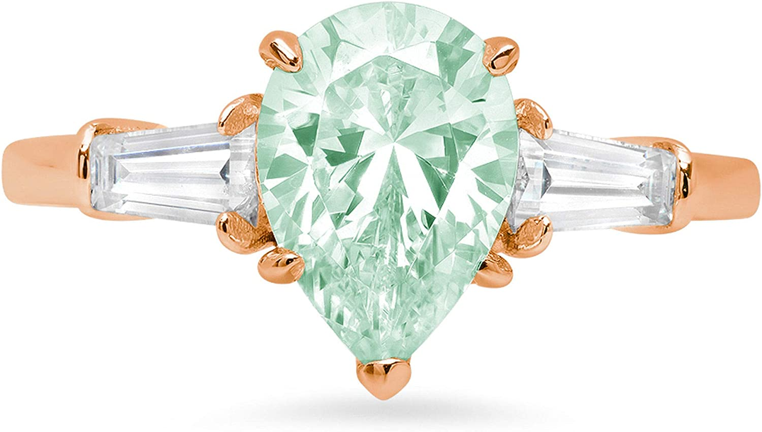 2.47ct Pear Baguette cut 3 stone Solitaire with Accent Light Sea Green Simulated Diamond CZ VVS1 Designer Modern Statement Ring Solid 14k Pink Rose Gold Clara Pucci