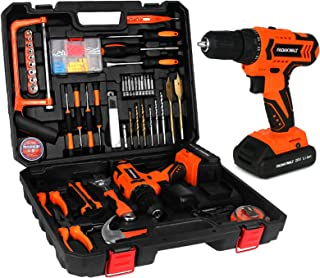 FADAKWALT 108 Pieces Tool Kit with 20V Cordless Drill, 2X Lithium-Ion Batteries & Charger, 21+1 Clutch, 2 Variable Speed, ...