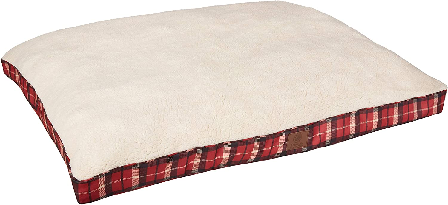 American Kennel Club AKC9261RED Plaid Bed Pet Gusset Bed, Red, XLarge