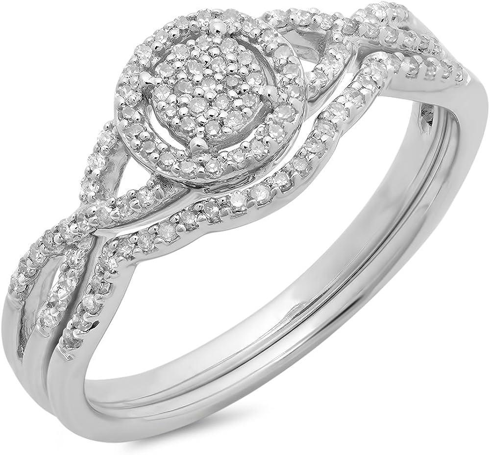 Dazzlingrock Collection 0.25 Carat (ctw) 10K Gold Round Diamond Ladies Twisted Split Shank Engagement Ring Set 1/4 CT
