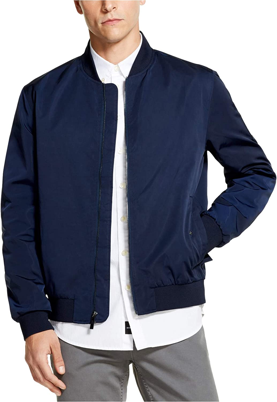 DKNY Mens Full-Zip Bomber Jacket, Blue, Large