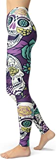 sissycos Women's Sugar Skull Printed Leggings Christmas Brushed Buttery Soft Ankle Length Tights