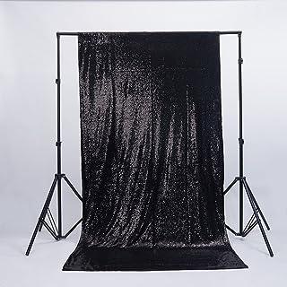zdada Geburtstag Fotoshootings Hintergrund Pailletten Hintergrund für Hochzeit, schwarz, 4ftx6.5ft