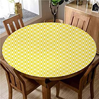 Yellow Washable Round Tablecloth Circles in Squares Dots Like Patterned Modern Cool Geometric Artful Print Dinner Picnic Home Decor D55 Inch Round Yellow and White
