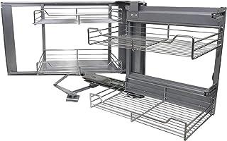 KuKoo – 4 Paniers Coulissants d'Angle, Côté Droit, en Métal pour Placard ou Cabinet de Cuisine Entre 90 – 100cm