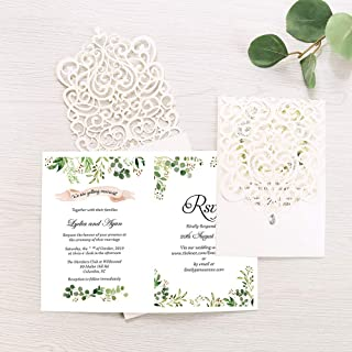 Doris Home Vertical Ivory Classic Style Wedding Invitations Cards Custom with Rhinestone & Laser Cut Flower (50)