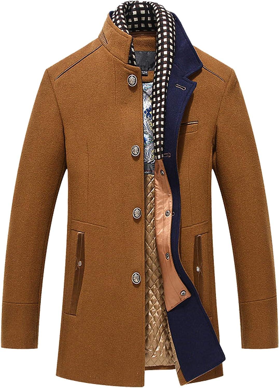 PRIJOUHE Men's Wool Coat Winter Coat Slim Medium Long Coats Overcoat Male