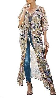 a9d4e51846 Women's Long Kimono Flowy Cardigan Boho Style Chiffon Floral Beach Cover Ups