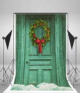 Laeacco 3x5ft Vinyl Backdrop Rustic Barn Door Photography Christmas Wreath Green Cartoon Dreamlike Snowflakes Blue Background Wood Door Children Adults Portraits Backdrop Photo Studio Prop