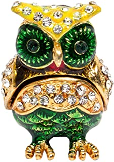 Details about  /GOLD ORANGE OWL BIRD+CRYSTAL GEMS JEWELRY,TRINKET BOX+CONTAINER-NEW+BOX J-543