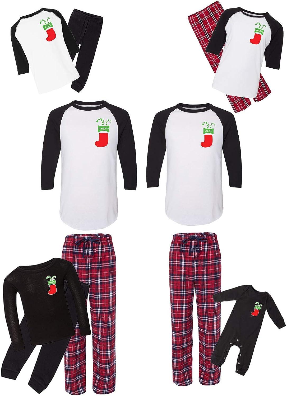 Awkward Styles Matching Christmas Max 51% OFF New mail order Pajamas Naughty F Red Set Nice