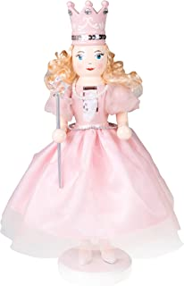"Clever Creations Sugar Plum Fairy Wooden Nutcracker Wearing Pink Dress, Pearl Necklace, Crown | Holding Star Fairy Wand | Festive Decor | Perfect for Shelves & Tables | 100% Wood | 14"" Tall…"