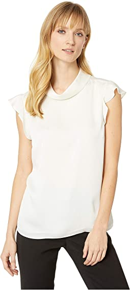 Ruffled Sleeveless Mock Neck Hammer Satin Blouse