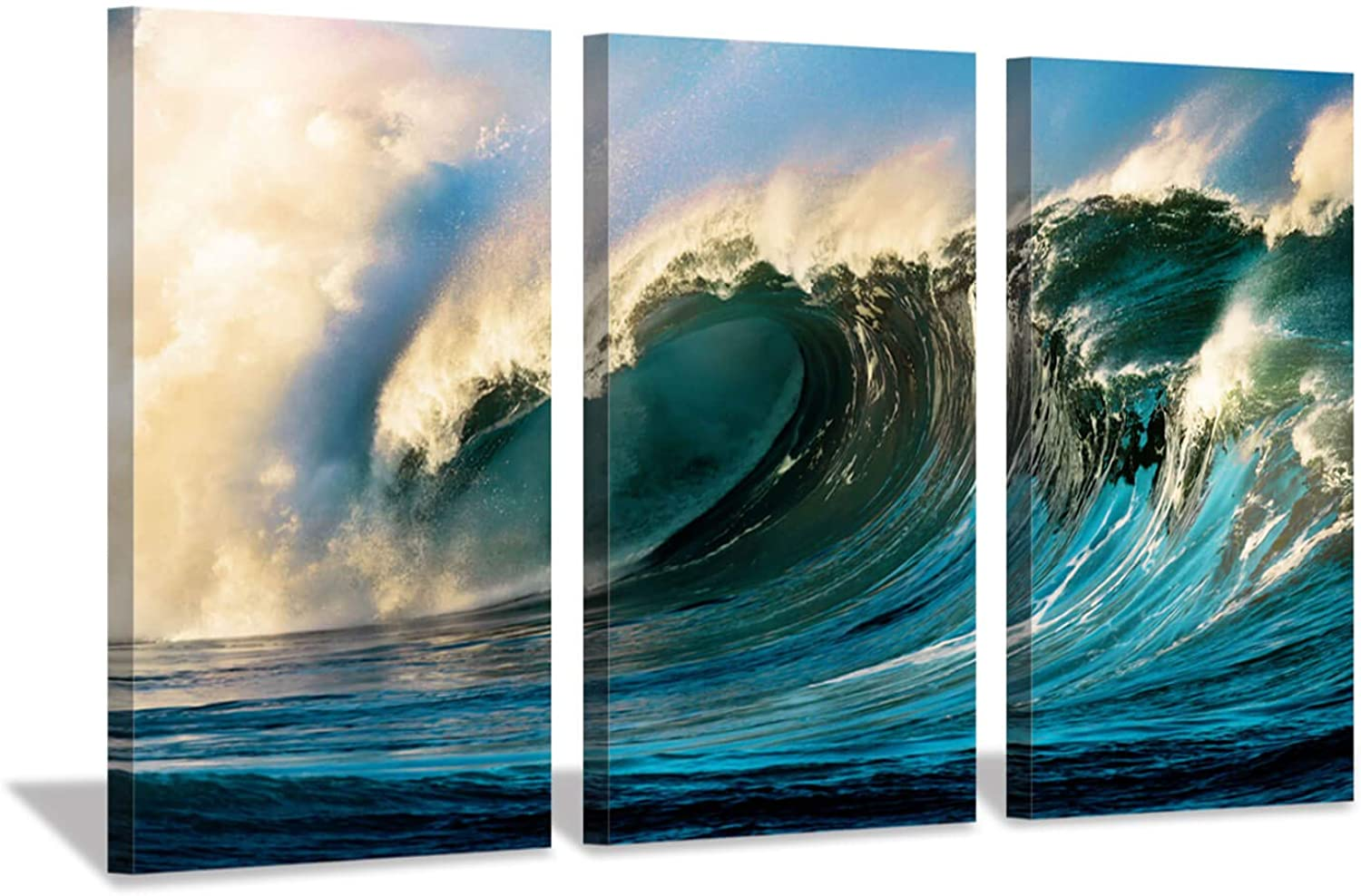 Ocean Wave Pictures Wall Decor  Navy bluee Waves Sunset Seascape Artwork Print on Canvas Wall Art Living Rooms Office (16 x26 x3pcs)