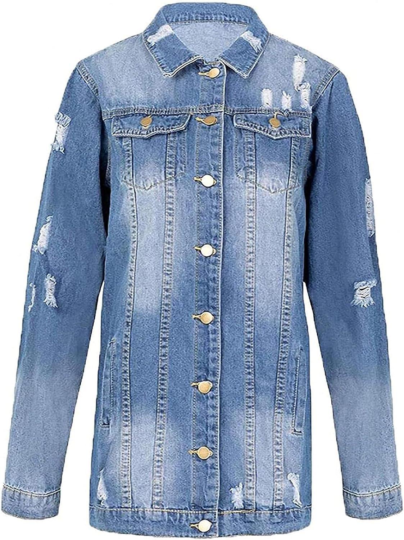 Denim Jackets Women Hole Style Long Sleeve Vintage Jean Jacket Denim Loose Spring Autumn Denim Coat Jean