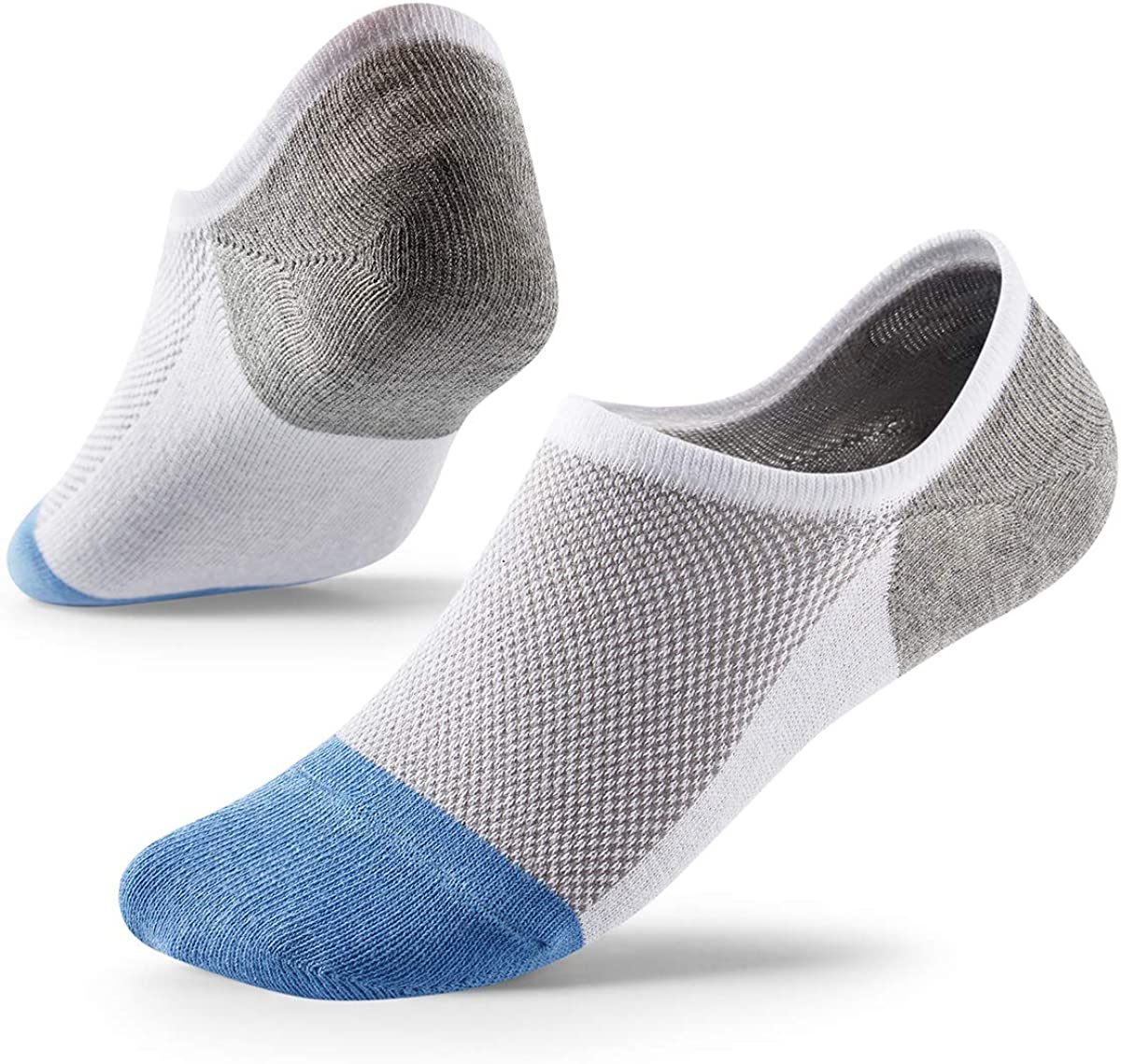 No Show Socks with Non-Slip Grip for Men&Women- Invisible Socks with Breathable Cotton for Sneakers 5Pairs Size 7-12 Hicomlor
