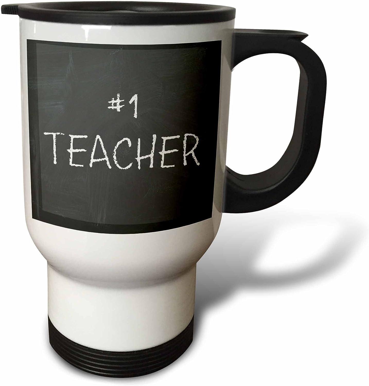 3dpink tm_172420_1  Number 1 Teacher, Multicolor Lettering on Black Chalkboard Travel Mug, 14 oz, Multicolor
