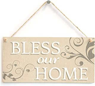Meijiafei Bless Our Home - Vintage PVC Sign Spiritual Religious Hanging Plaque 10