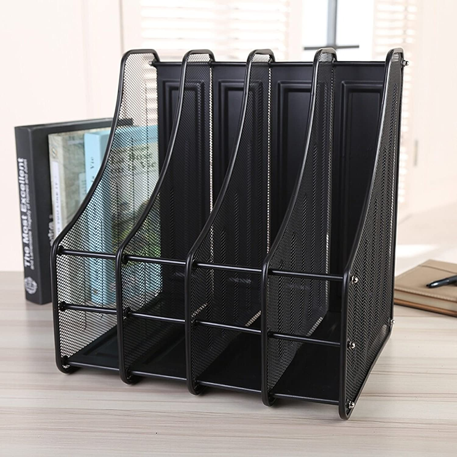 Black Metal File Shelf A4 Barbed Wire Files Rack File Bar Data Frame Office Stationery Shelves