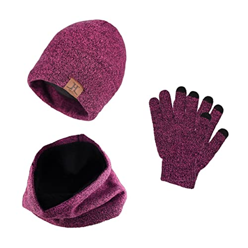 3e72a340407 Tuopuda Men Women Hat Scarves Gloves Set Thermal Winter Warm Knitted Beanie  Hat Neck Warmer and