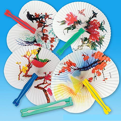 12 Floral Folding Fans Paper with Plastic Handles Approx. 10  Assorted Farbes