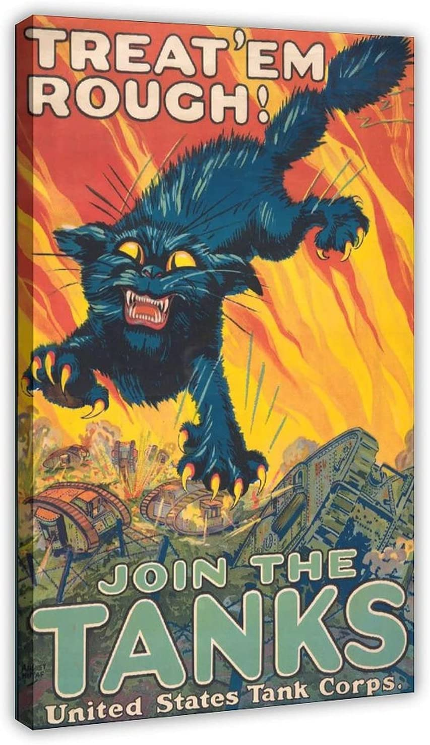 Treat Em Rough Inventory cleanup selling sale Join The Tanks W Canvas Vintage Poster Spring new work one after another WWI