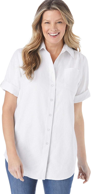 Woman Within Women's Plus Size Linen Blend Button-Front Shirt