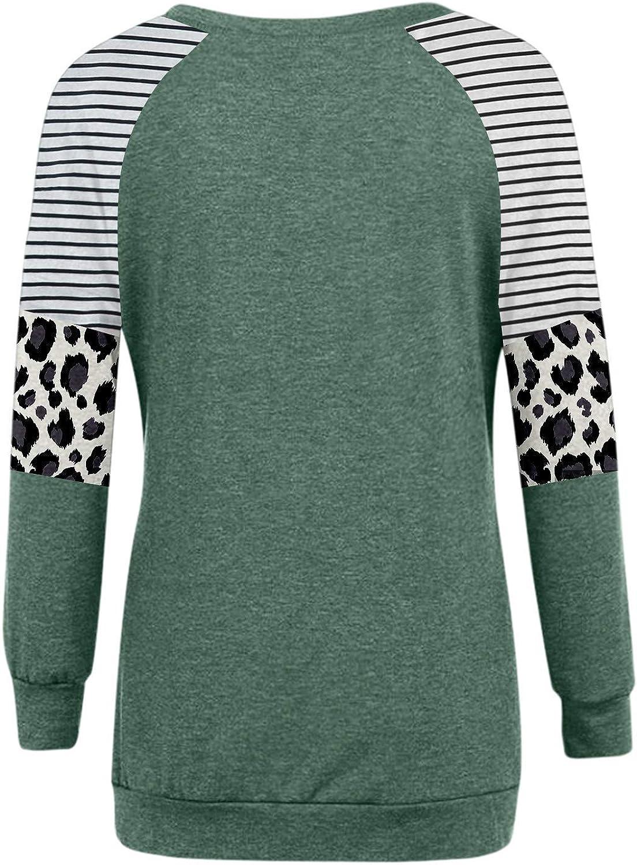 Aniywn Women Long Sleeve Leopard Color Block Tunic Tops for Leggings Stripe Round Neck Shirt Fall Pocket Tunic Tops