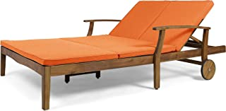 Great Deal Furniture Samantha Double Chaise Lounge for Yard and Patio, Acacia Wood Frame, Teak Finish with Orange Cushions