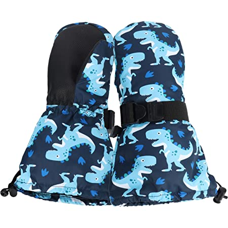HIGHCAMP Toddler /& Kid Boys Waterproof Ski Snow Mittens Long and Stay on