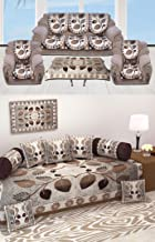 AM Creation Diwan set of 8 Pieces combo with sofa covers for living room 5 seater and Table Cover-coffee Color
